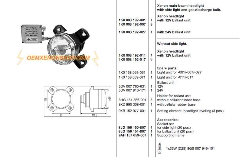 Main Headlight Van Wezel 0646462/Holder