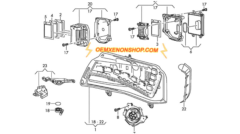 Audi A8 A8L LED Original Headlight OEM Power Module Parts